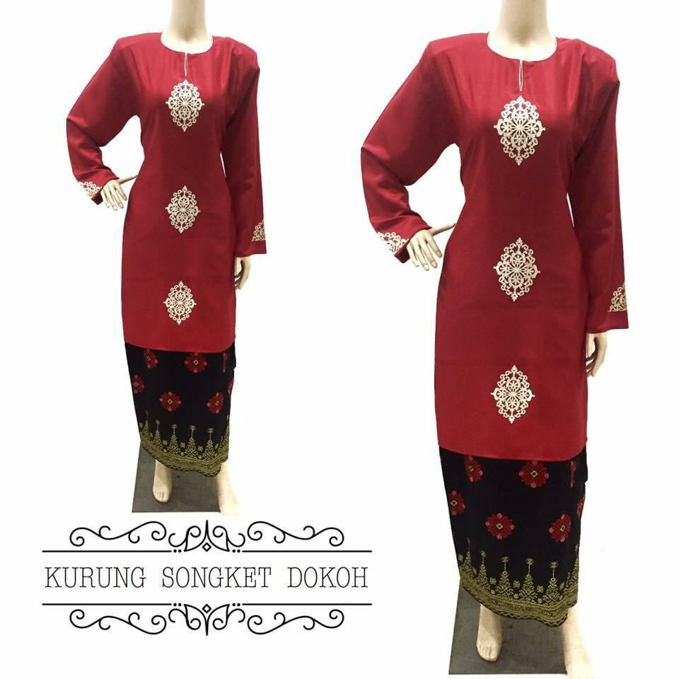 baju-kurung-moden-songket-dokoh-merah