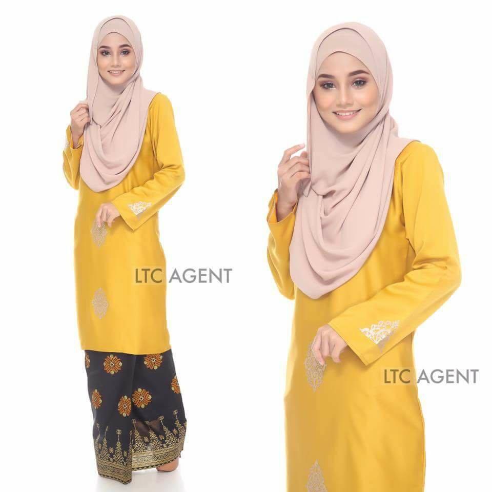 baju-kurung-moden-songket-dokoh-mustard