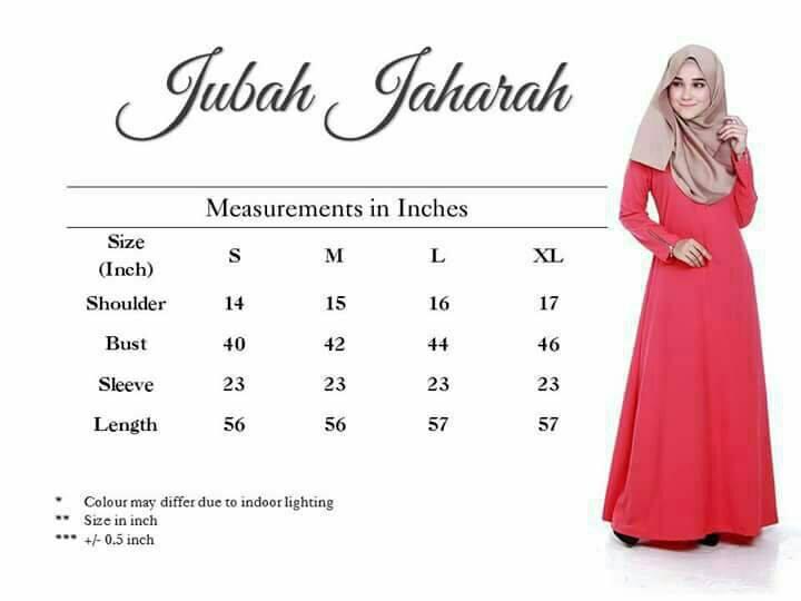 JUBAH MUSLIMAH JAHARAH UKURAN