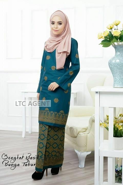 baju-kurung-moden-songket-bunga-tabur-green