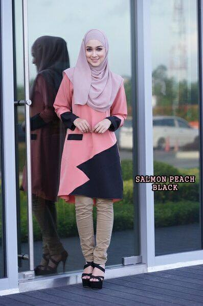 blouse-azalea-salmon-peach-black