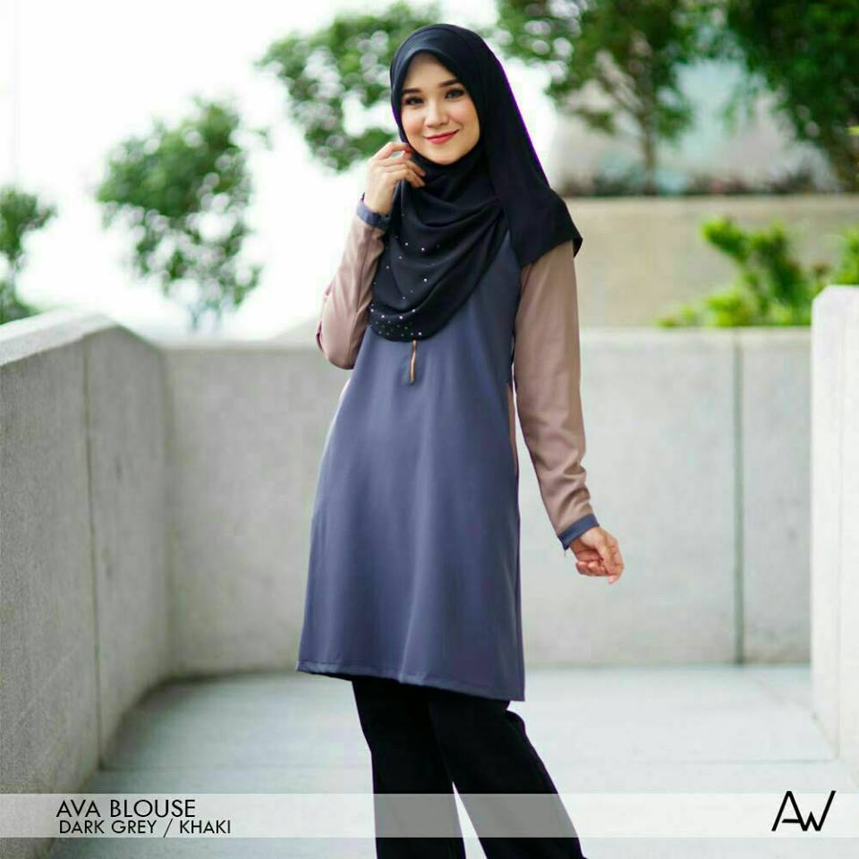 blouse-muslimah-ava-crepe-dark-grey