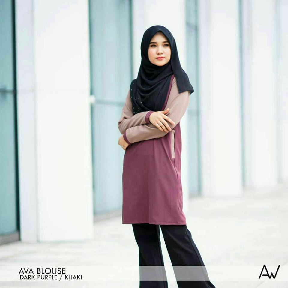 blouse-muslimah-ava-crepe-dark-purple