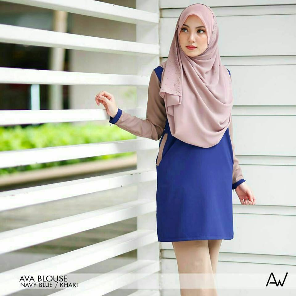 blouse-muslimah-ava-crepe-navy-blue