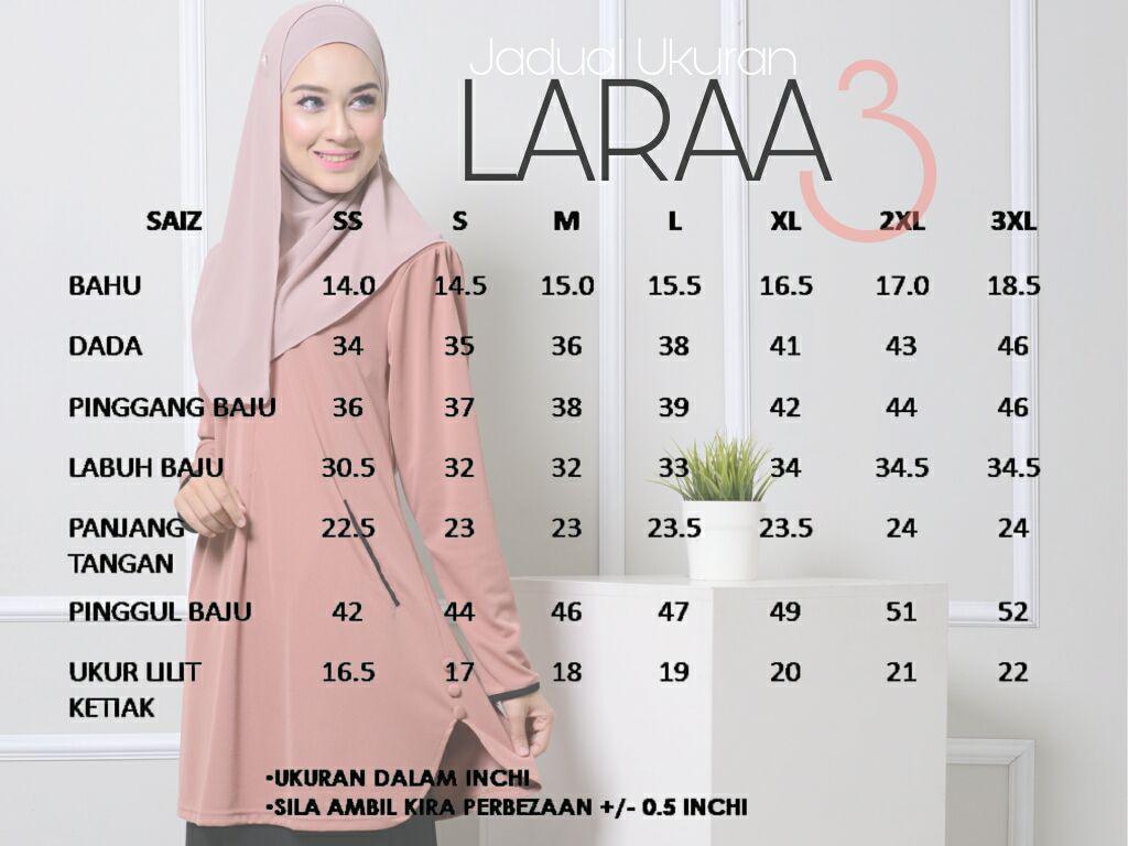 blouse-muslimah-crepe-laraa-lr-ukuran