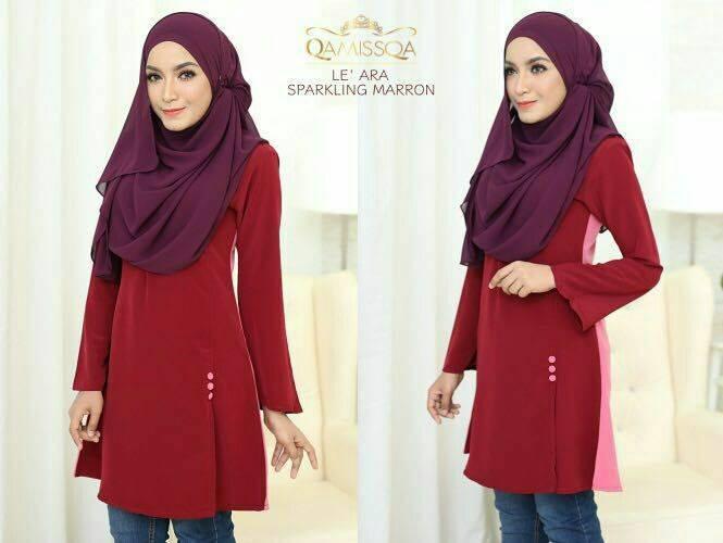 blouse-muslimah-le-ara-sparkling-maroon