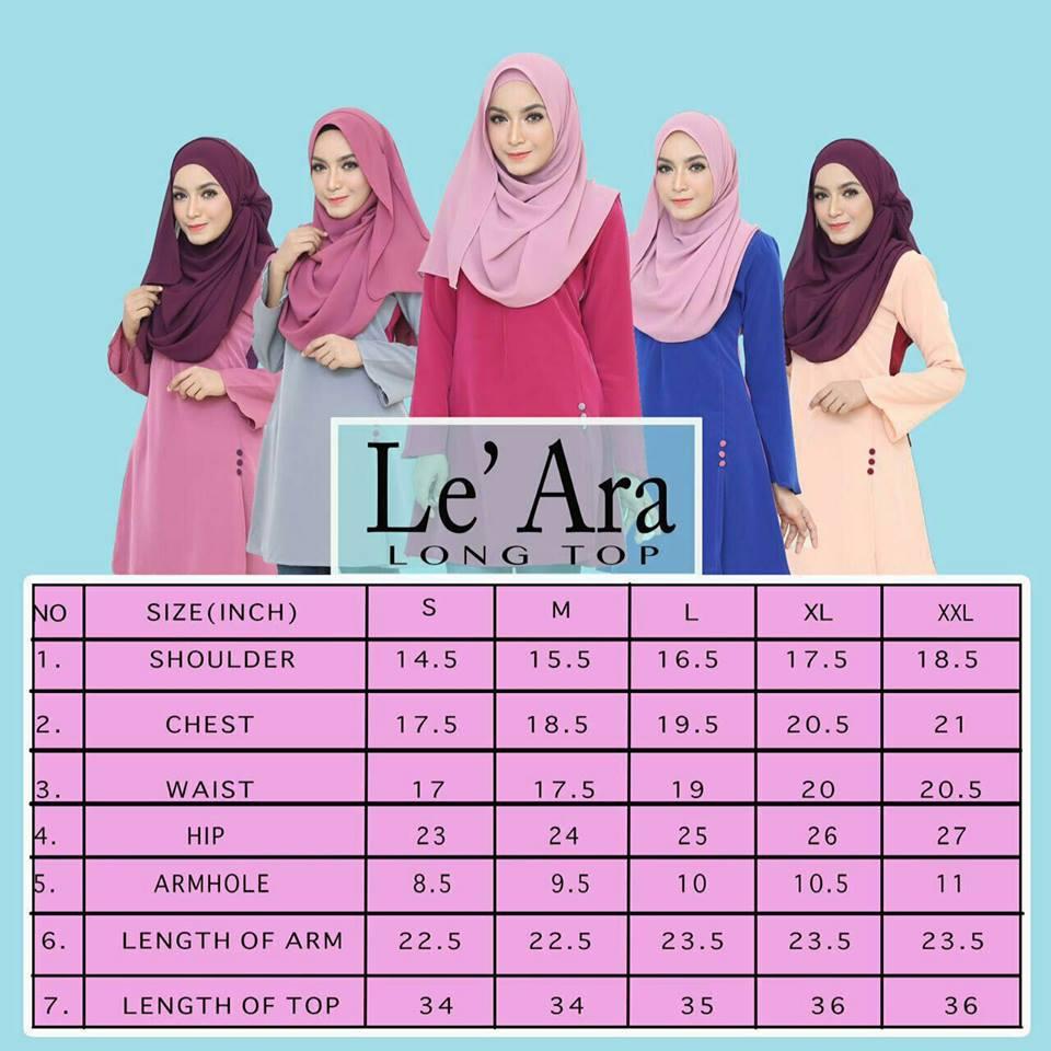 blouse-muslimah-le-ara-ukuran