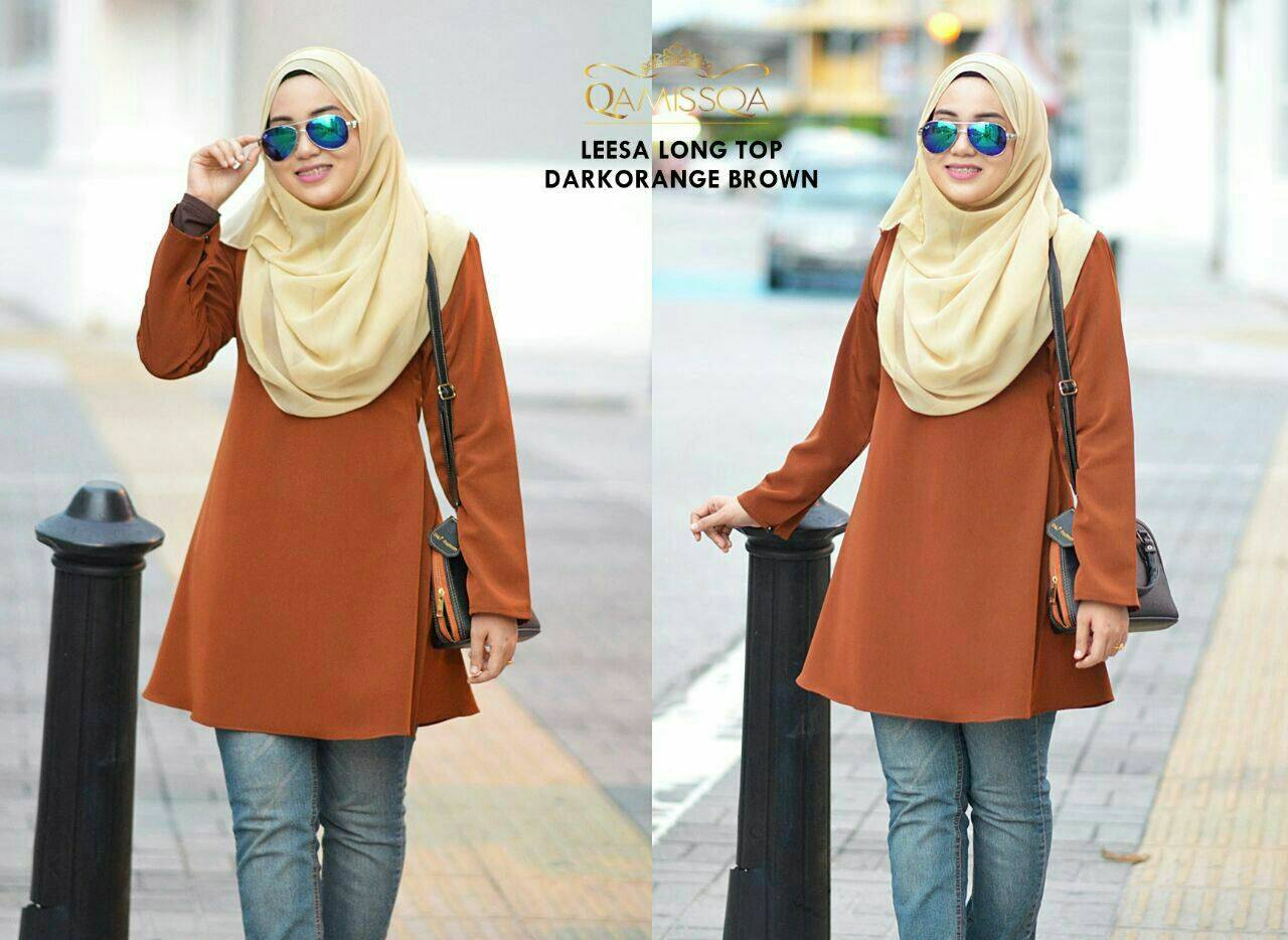 blouse-muslimah-leesa-dark-orange-brown