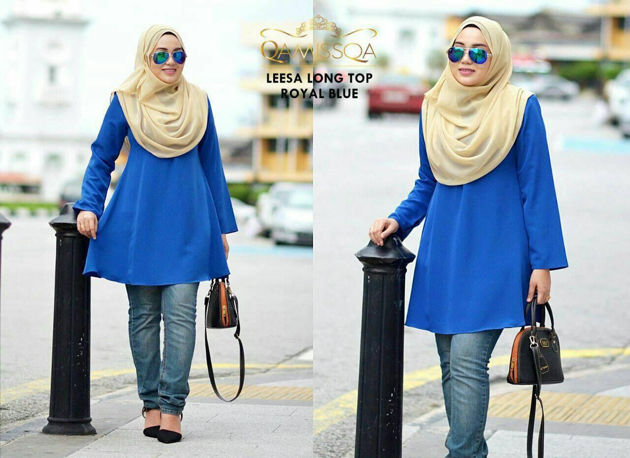 blouse-muslimah-leesa-royal-blue