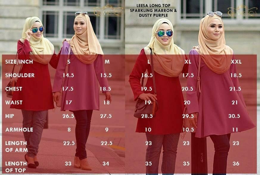 blouse-muslimah-leesa-ukuran