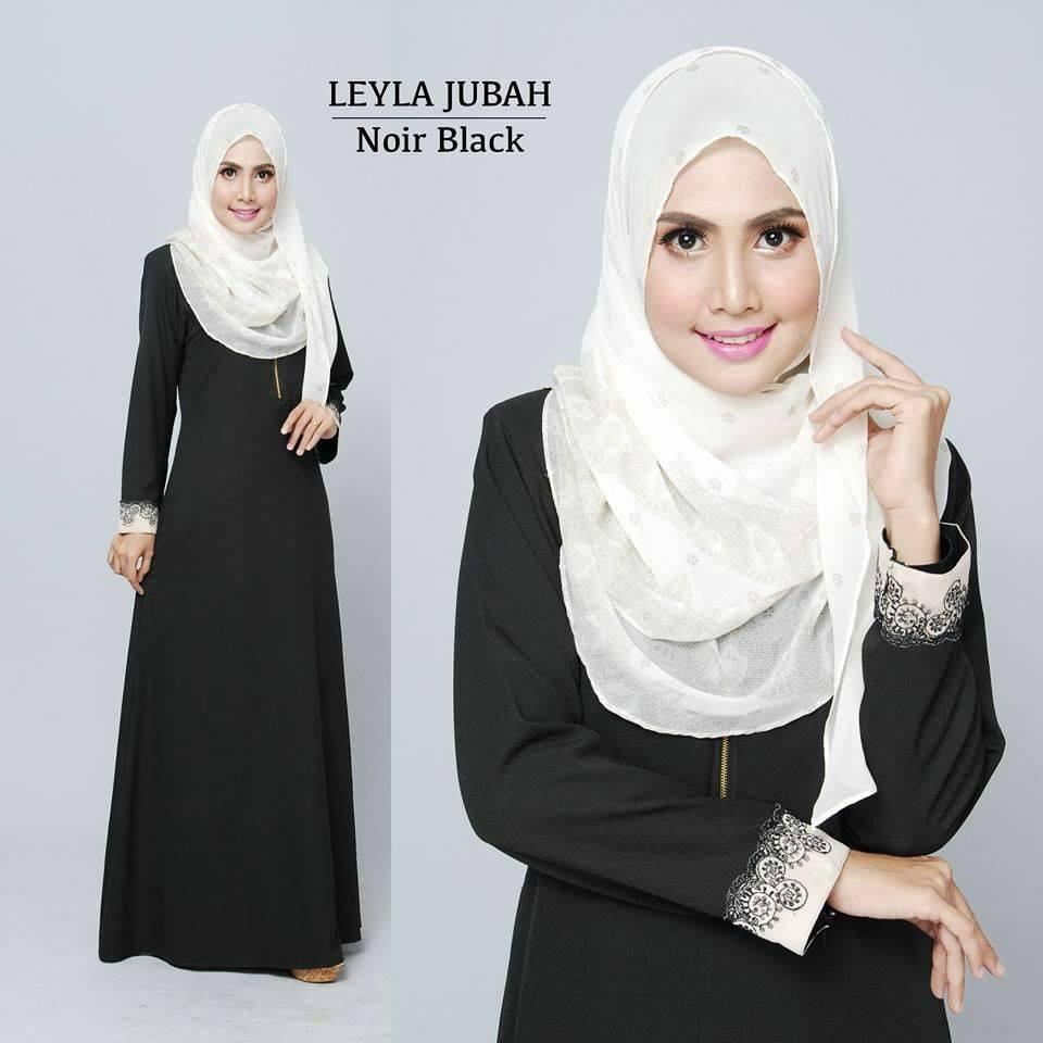 jubah-leyla-lacey-noir-black