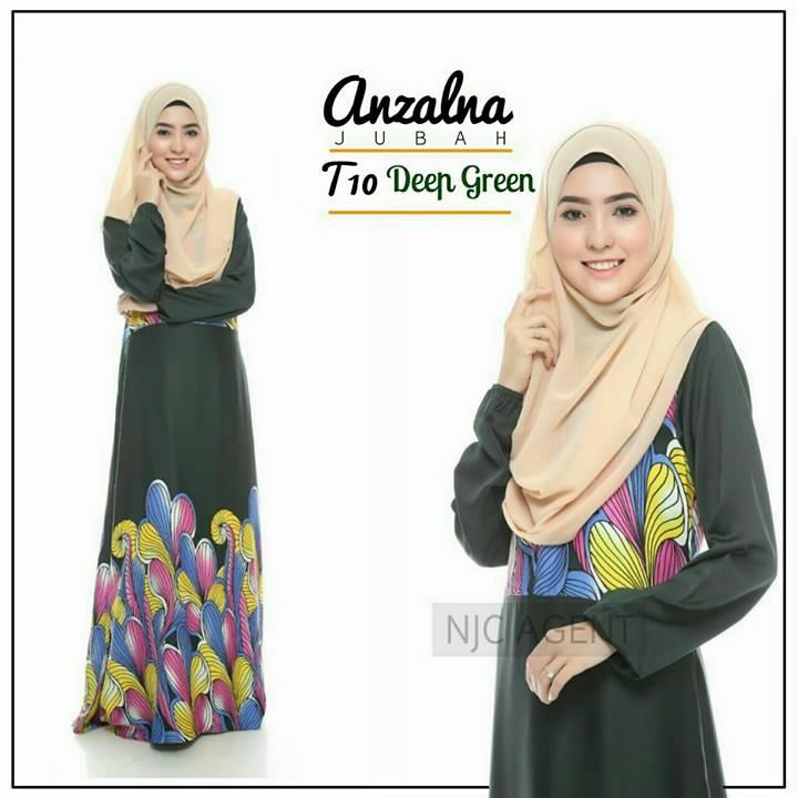 jubah-motif-anzalna-t10-deep-green