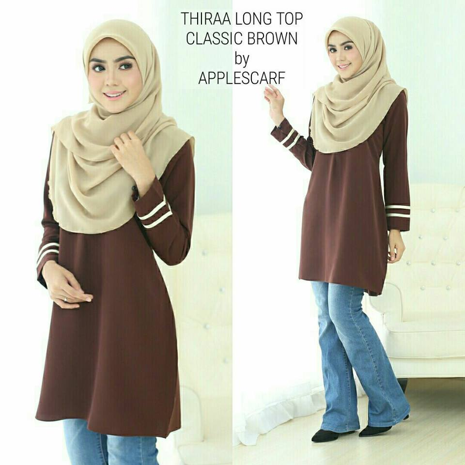 long-top-muslimah-thiraa-classic-brown