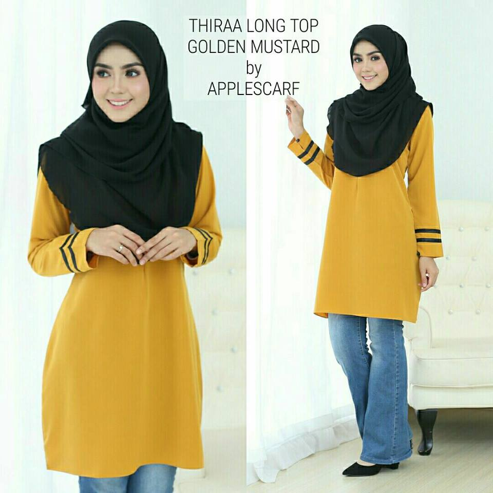 long-top-muslimah-thiraa-golden-mustard