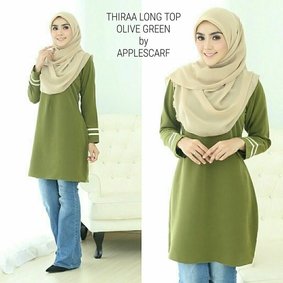 long-top-muslimah-thiraa-olive-green