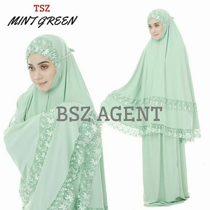 telekung-lycra-renda-mint-green