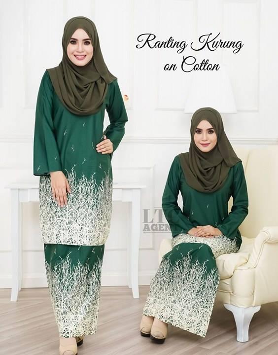 baju-kurung-moden-motif-ranting-green