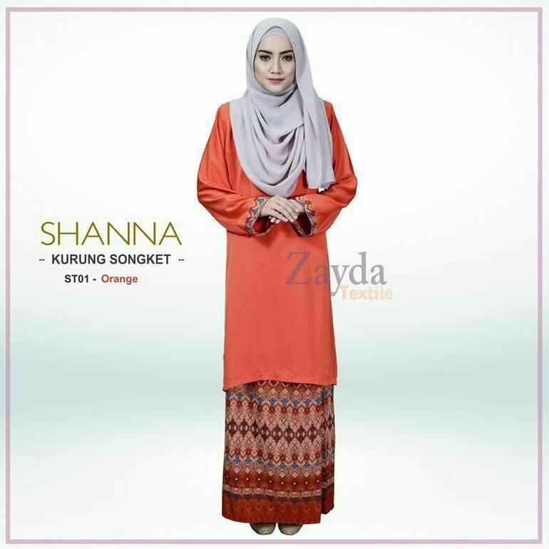 baju-kurung-songket-shanna-orange
