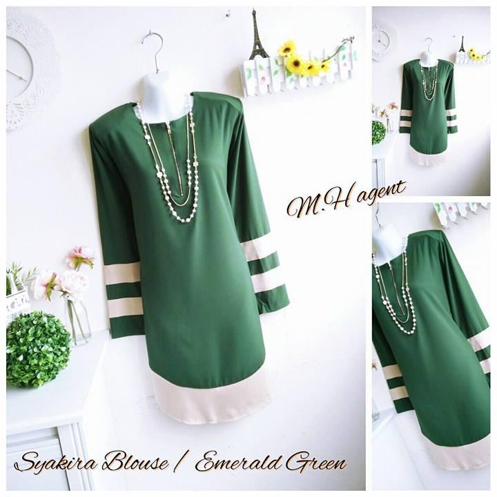 blouse-muslimah-moss-crepe-syakira-e-green