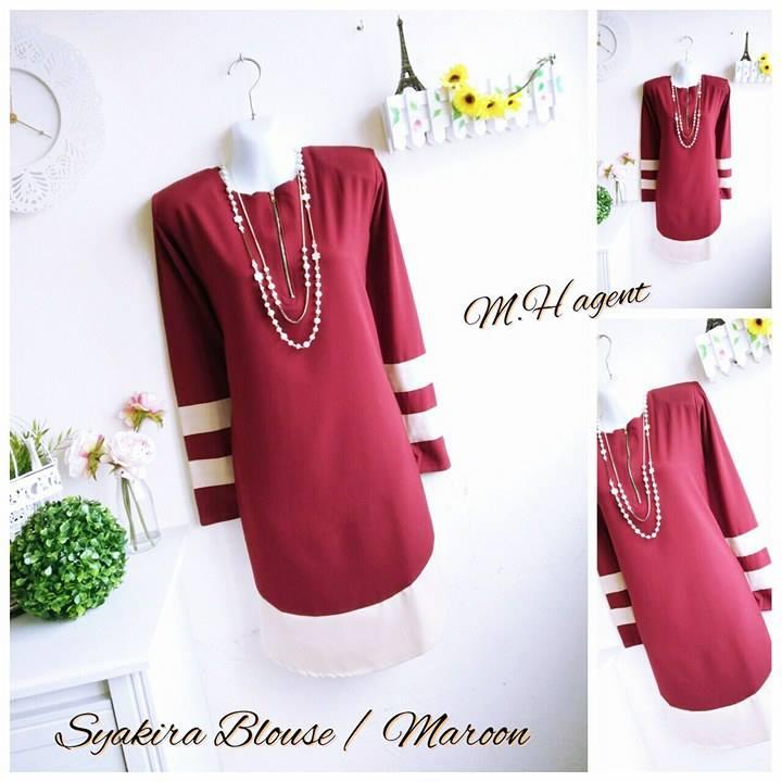 blouse-muslimah-moss-crepe-syakira-maroon