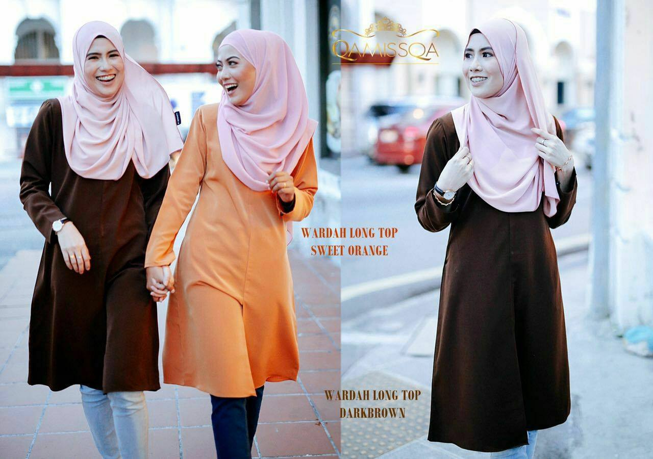 blouse-muslimah-wardah-dark-brown