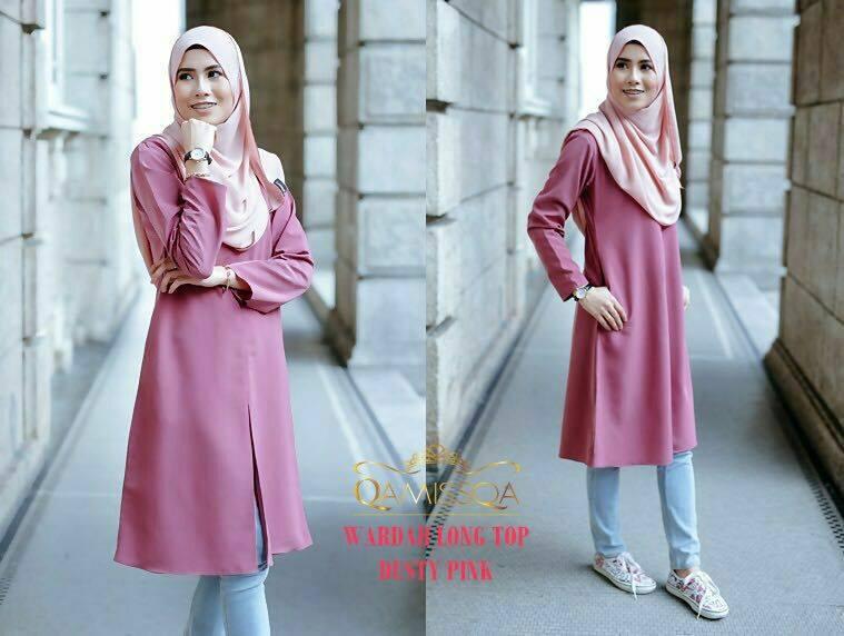 blouse-muslimah-wardah-dusty-pink