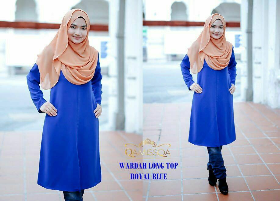 blouse-muslimah-wardah-royal-blue