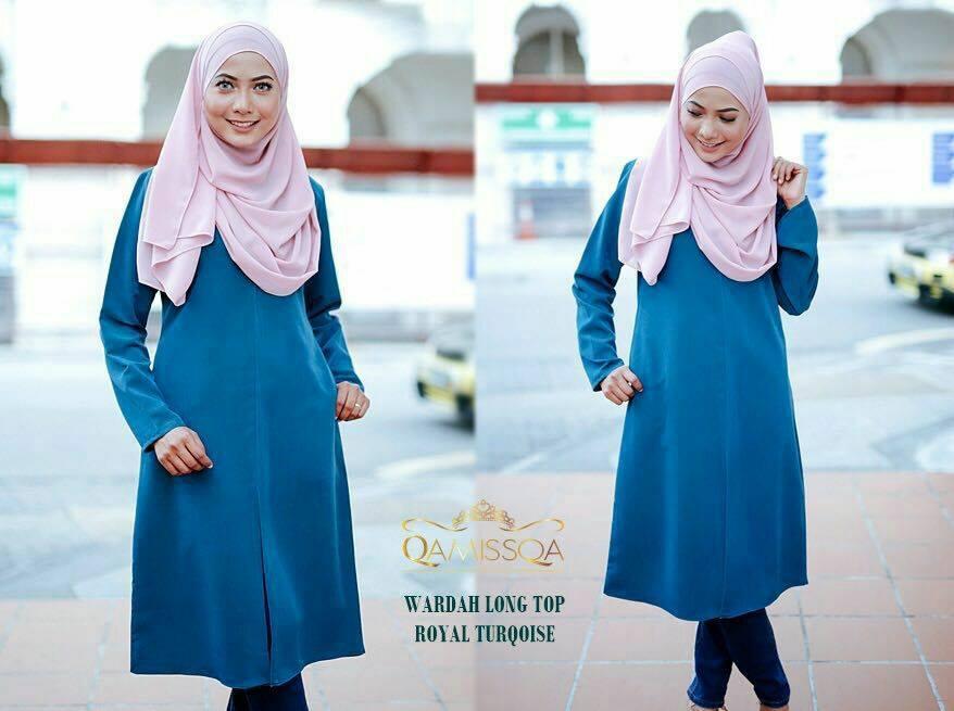 blouse-muslimah-wardah-royal-turqoise