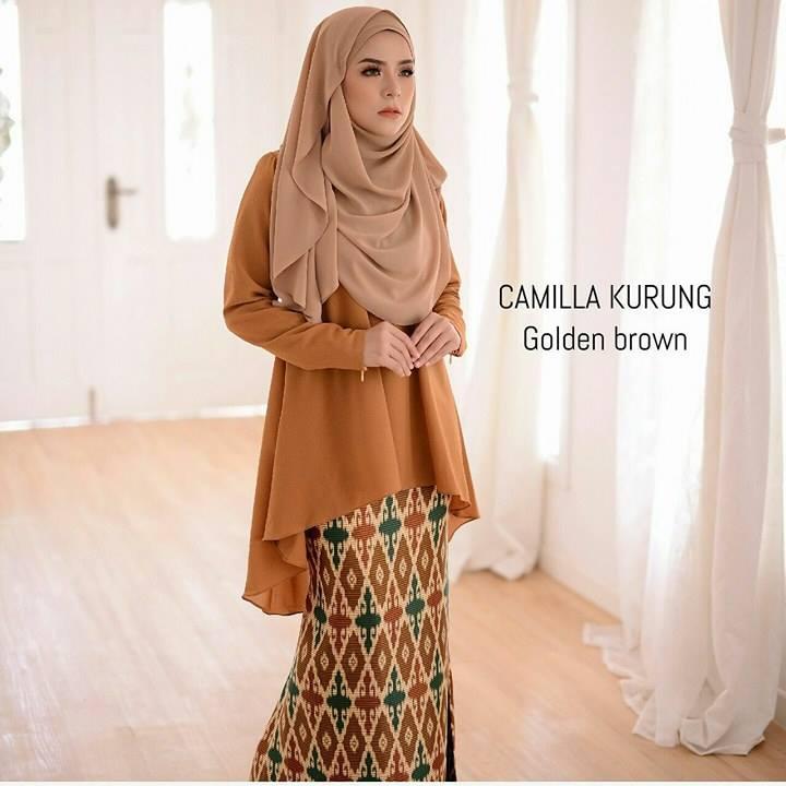 baju-kurung-moden-chiffon-camilla-golden-brown