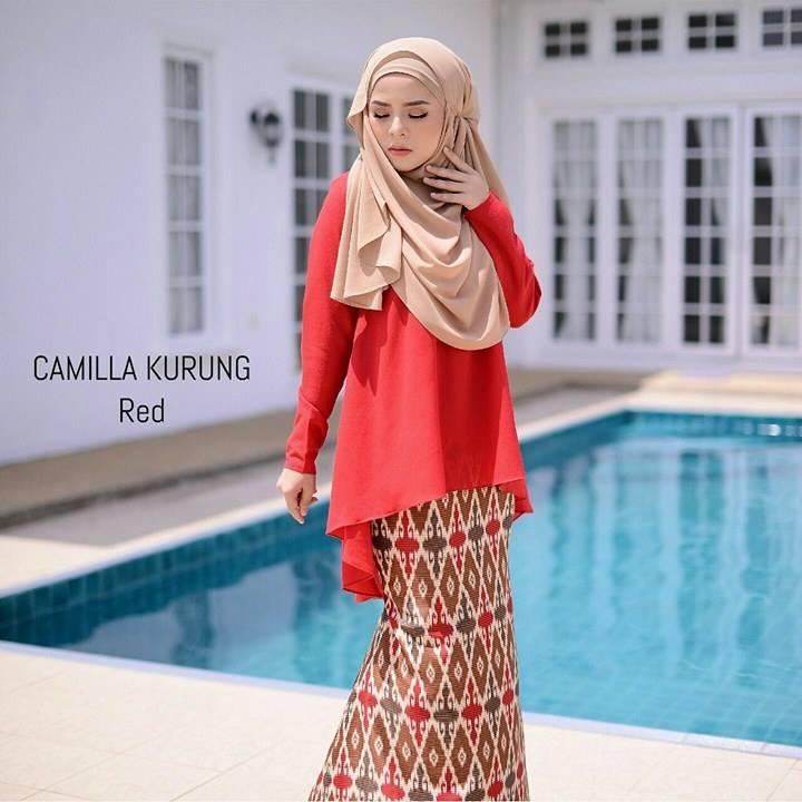 baju-kurung-moden-chiffon-camilla-red