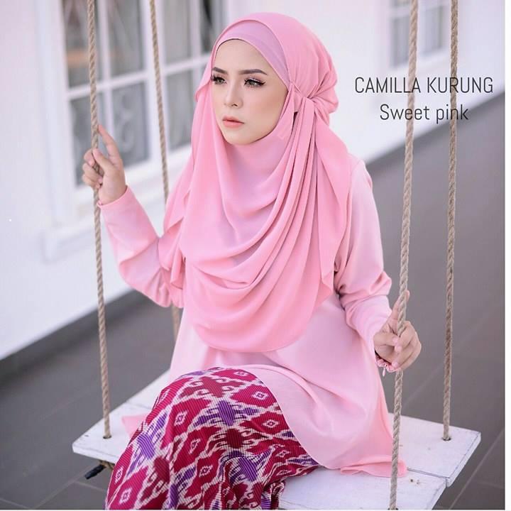baju-kurung-moden-chiffon-camilla-sweet-pink