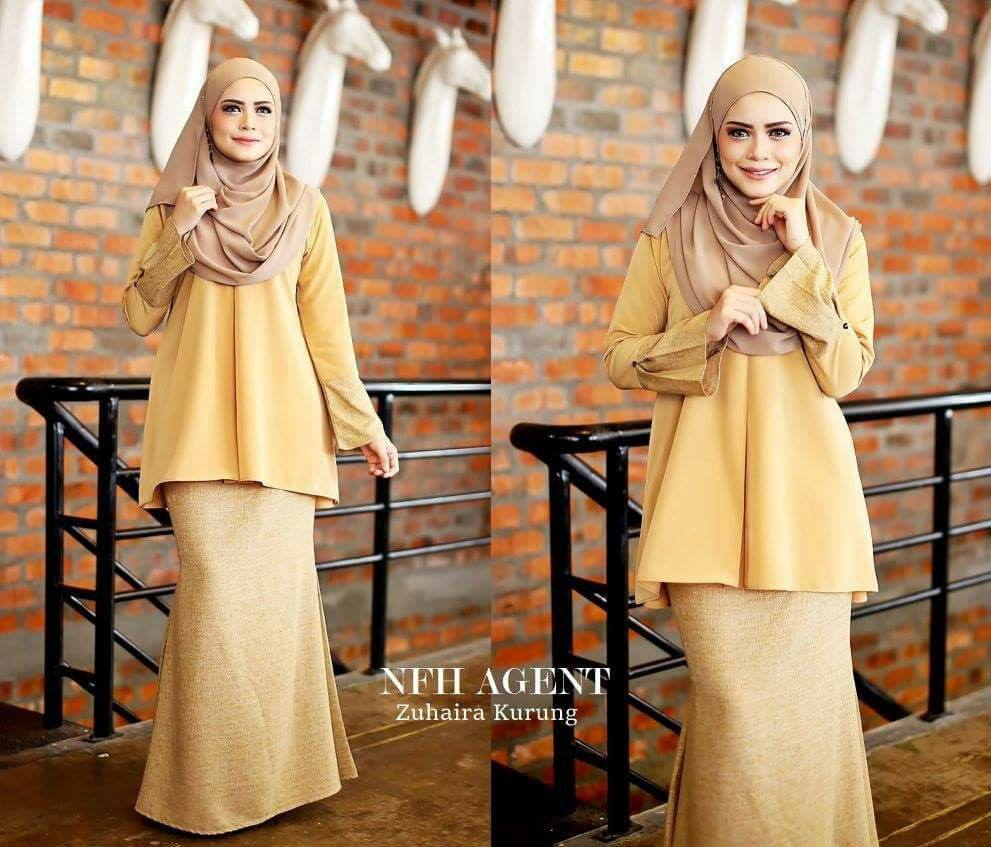 KURUNG TUNIC ZUHAIRA YELLOW BEIGE BROWN