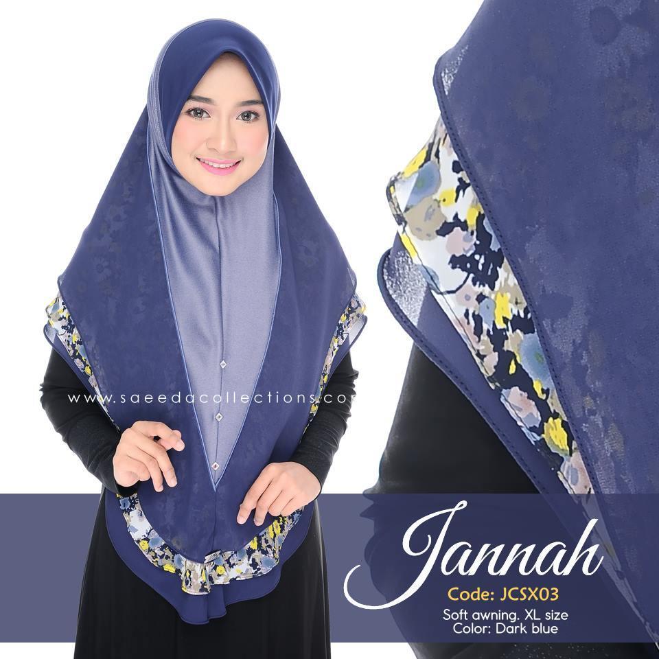 TUDUNG DENIM CHIFFON JANNAH SAIZ XL JCSX03