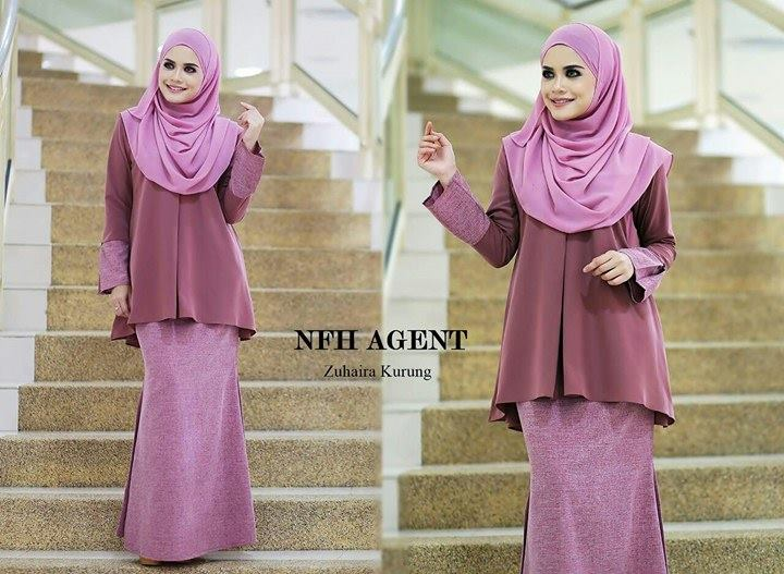 BAJU KURUNG ZUHAIRA TUNIC DUSTY PINK PURPLE