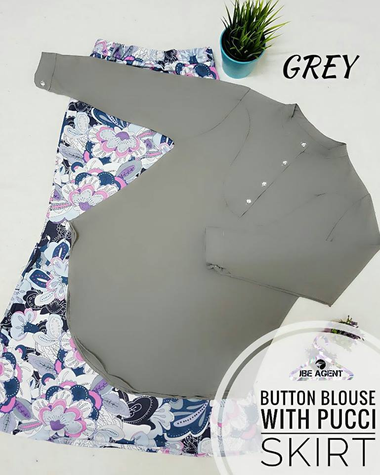 BLOUSE BUTTON PUCCI SKIRT GREY