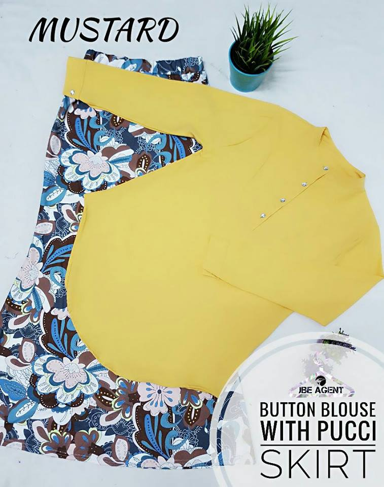 BLOUSE BUTTON PUCCI SKIRT MUSTARD
