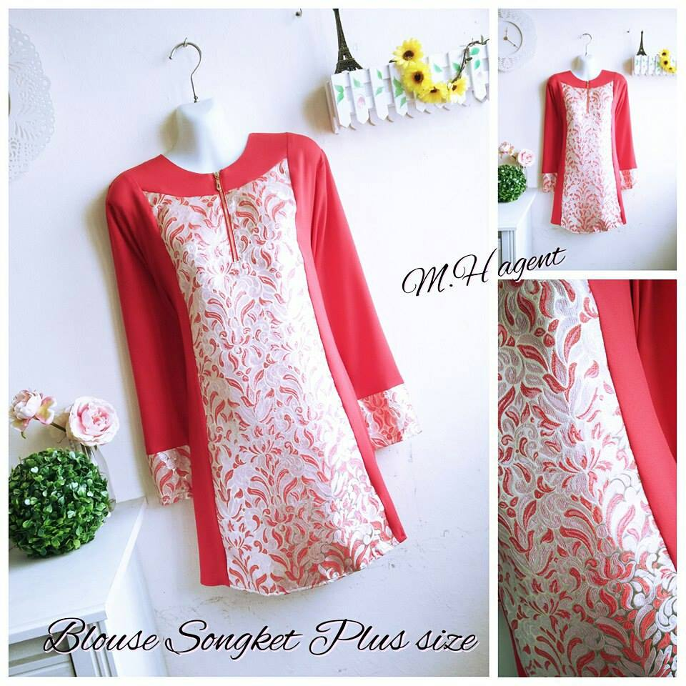 BLOUSE SONGKET PLUS SIZE RED