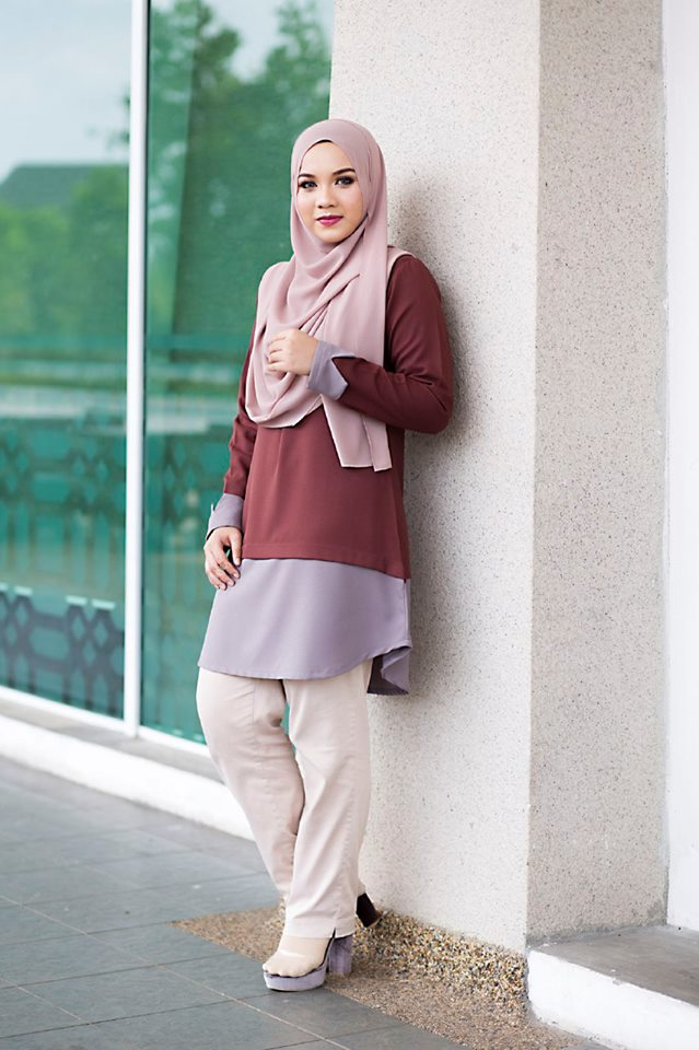 BLOUSE MUSLIMAH TULIP BROWN A