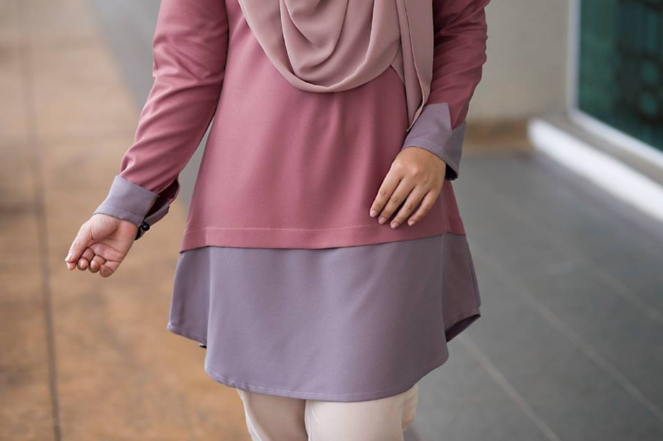 BLOUSE MUSLIMAH TULIP DUSTY ROSE C