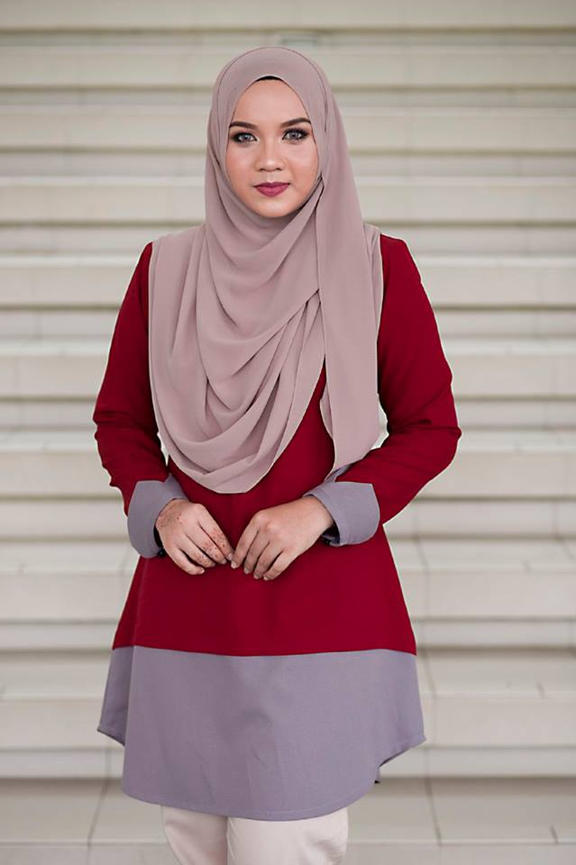 BLOUSE MUSLIMAH TULIP RED WINE A