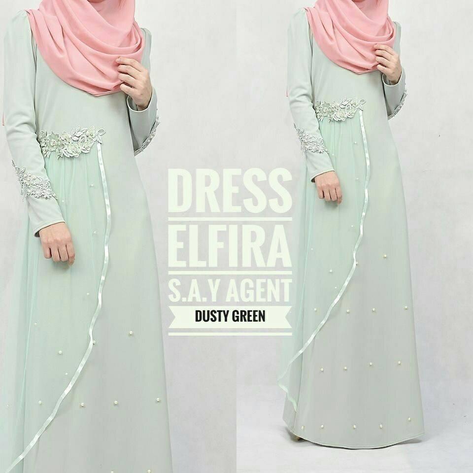 DRESS ELFIRA DUSTY GREEN