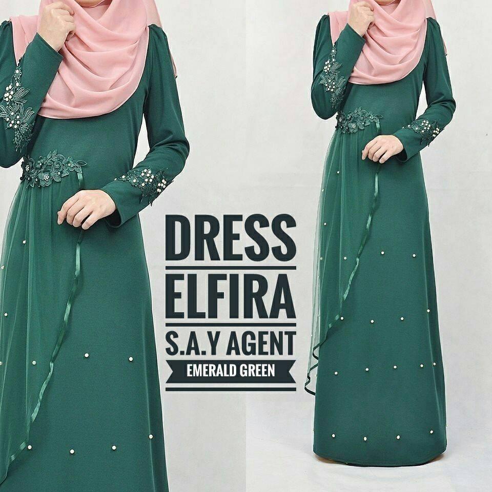 DRESS ELFIRA EMERALD GREEN