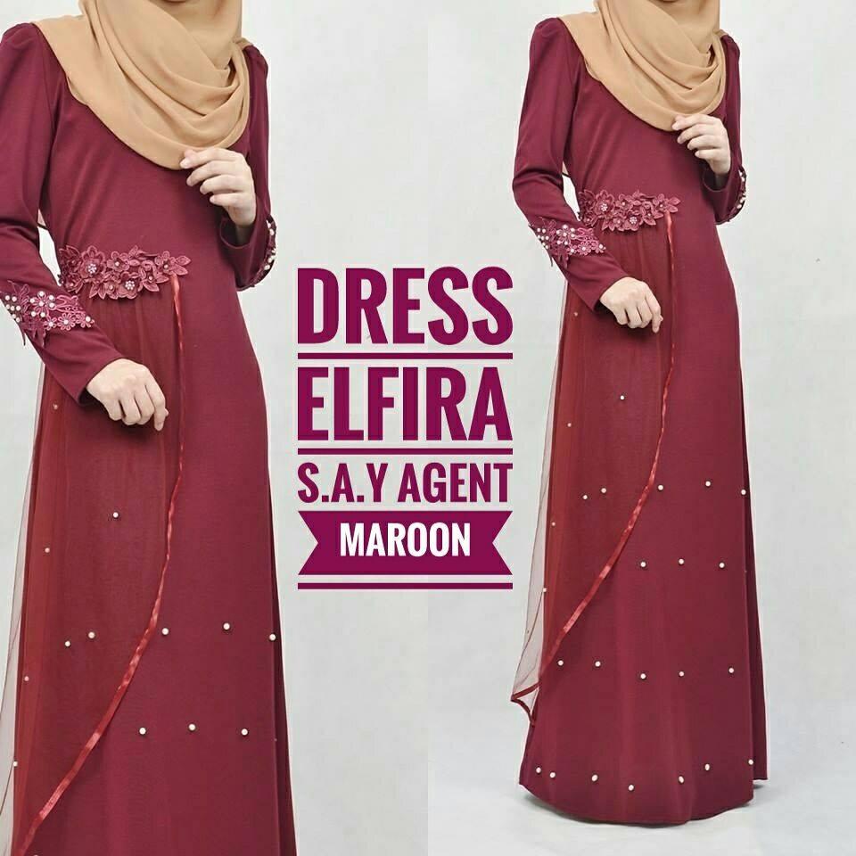 DRESS ELFIRA MAROON