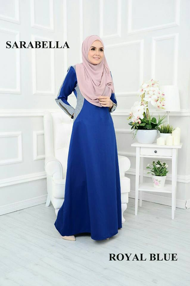 JUBAH RAYA SATIN SARABELLA ROYAL BLUE