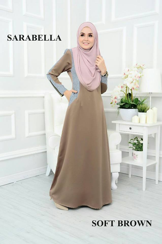 JUBAH RAYA SATIN SARABELLA SOFT BROWN