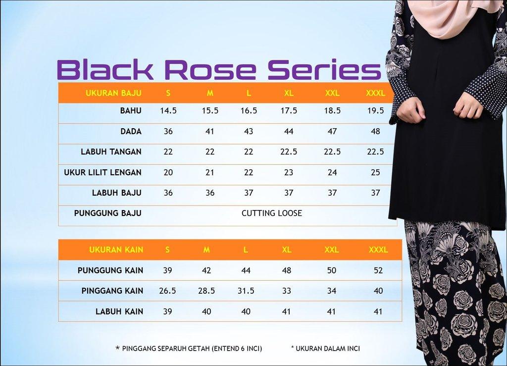 KURUNG MALAYSIA BLACK ROSES SERIES UKURAN