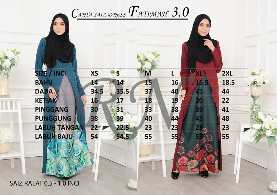 DRESS FATIMAH 3.0 UKURAN