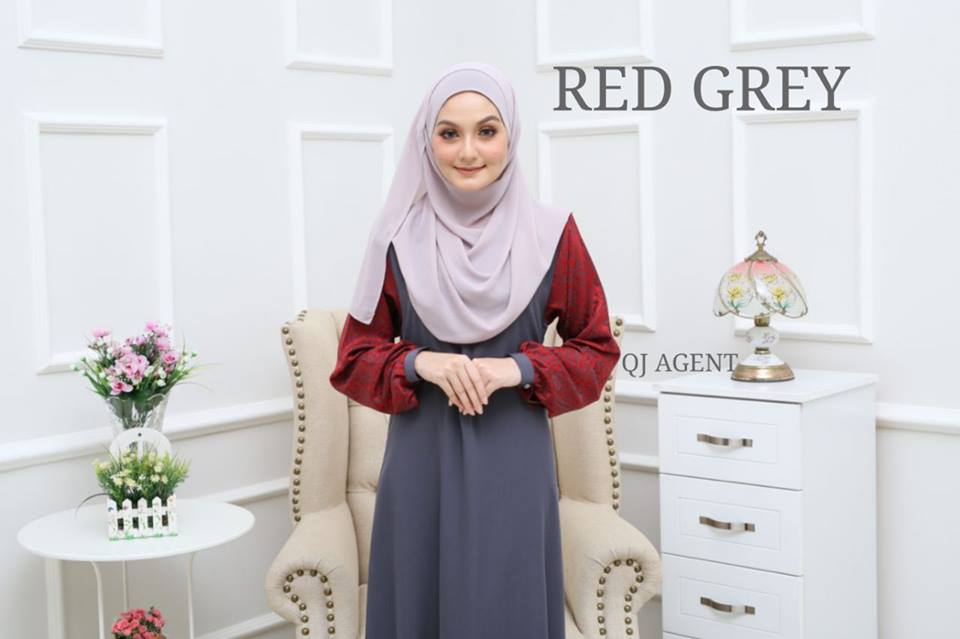 JUBAH AISYAH RED GREY 1
