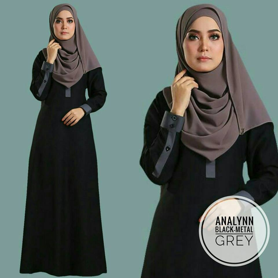 JUBAH ANALYNN BLACK GREY