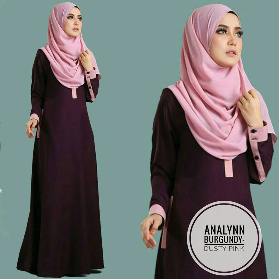 JUBAH ANALYNN BURGUNDY DUSTY PINK
